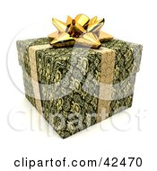Clipart Illustration Of A Gold Ribbon And Bow Around A Green Gift by stockillustrations