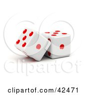 Clipart Illustration Of Two Red And White Dice Resting Against Each Other