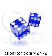 Clipart Illustration Of Two Blue And White Tumbling Dice