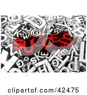 Clipart Illustration Of The Red 3d Word SUCCESS Surrounded By White Letters by stockillustrations