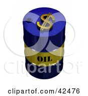 Clipart Illustration Of A Blue And Gold Oil Barrel With A Dollar Symbol On Top