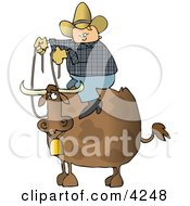 Cowboy Sitting On The Back Of A Bull With Horns And A Bell