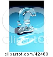 Clipart Illustration Of A Shiny Glass Pound Sterling Sign Reflecting Light On A Blue Surface