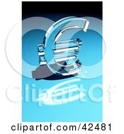 Clipart Illustration Of A Shiny Glass Euro Sign Reflecting Light On A Blue Surface