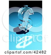 Clipart Illustration of a Shiny Glass Dollar Sign Reflecting Light On A Blue Surface by stockillustrations