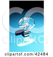 Clipart Illustration Of A Shiny Glass Question Mark Reflecting Light On A Blue Surface by stockillustrations
