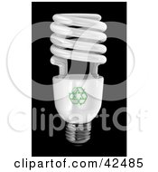Clipart Illustration Of A Spiral Energy Efficient Light Bulb On Black