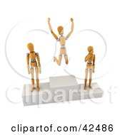 Clipart Illustration of Orange 3d Dummies On First, Second And Third Place Pedestals by stockillustrations #COLLC42486-0101