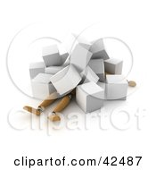 Clipart Illustration Of A 3d Orange Dummy Collapsed Under White Cubes by stockillustrations #COLLC42487-0101