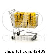 Clipart Illustration Of Gold Bars Stacked In A Shopping Cart