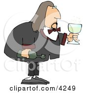 Male Waiter Serving Wine In A Glass Clipart