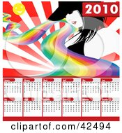 Clipart Illustration Of A Rainbow Sun And Sexy Lady On A Bursting Red 2010 Calendar Background by MacX