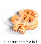 Clipart Illustration Of A Shiny Orange 3d Dollar Symbol