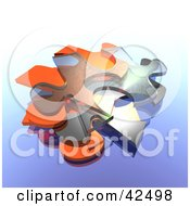 Transparent Blue Jigsaw Puzzle Pieces Mixed In With Orange Pieces