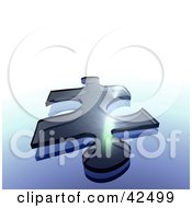 Clipart Illustration Of A Transparent Blue Jigsaw Puzzle Piece On A Gradient Blue Background