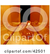 Clipart Illustration Of Marbles Rolling Down A Mirrored Orange Passage Way by MacX