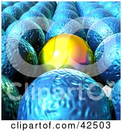 Clipart Illustration Of A Smooth Orange Orb Standing Out From Rows Of Blue Orbs by MacX