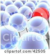 Red Ball Standing Out From A Crowd Of Reflective Blue Balls In Rows
