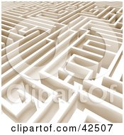 Clipart Illustration Of An Aerial View Of A Complex Beige Labyrinth Maze