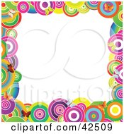 Clipart Illustration Of A Vibrantly Colored Circle And Butterfly Frame Around A White Center by MacX #COLLC42509-0098