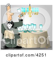 Male Butler Cleaning And Polishing Wine Glasses Clipart