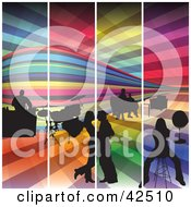 Clipart Illustration Of Four Colorful Panels Of A Night Club With A Bar Drums And People On The Dance Floor