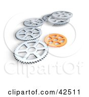 Silver And Orange Gears Working In Harmony