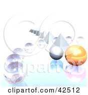 Row Of Pyramids With Clear And Orange 3d Orb
