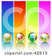 Four Colorful Panels With Marbles On Reflective Surfaces