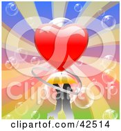 Omantic Young Couple Embracing On A Colorful Background With Bubbles And A Big Heart