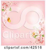 Pink Background With Butterflies And Pink Roses In The Corners