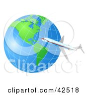 Clipart Illustration Of An Airplane Flying Around The World by MacX