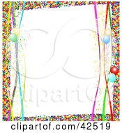 Colorful Confetti Border With Streamers And Balloons On White