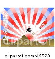 Clipart Illustration Of An Egret Flying Over Japanese Mountains Against A Red Sunset In A Blue Sky by MacX