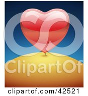 Clipart Illustration Of A Shiny Big Red 3d Heart Growing Like A Plant On A Hill