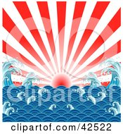 Clipart Illustration Of A Bursting Red And White Sunset Over A Japanese Styled Ocean With Waves