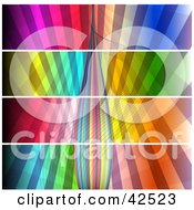 Clipart Illustration Of Four Panels Of Colorful Lines And Bursts With An Emerging Center by MacX