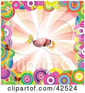 Colorful Circle Border Around A Bursting Background With Butterflies And Hearts