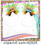Colorful Mardi Gras Confetti Border With Waves And Masks On White