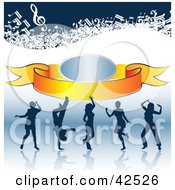 Clipart Illustration Of Silhouetted People Dancing On A Reflective Surface With A Banner And Music Notes by MacX