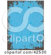 Clipart Illustration Of A Brown Grunge Border On A Blue Vertical Background
