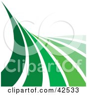 Clipart Illustration Of A Wave Of Green Lines Curving Up Over A White Background