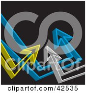 Clipart Illustration Of A Black Background With Gray Blue And Yellow 3d Arrows Pointing Upwards Towards Blank Space