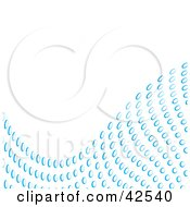 Clipart Illustration Of A Wave Of Blue Water Droplets Along A White Background by Arena Creative