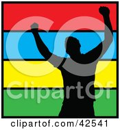 Clipart Illustration Of A Silhouetted Successful Man Celebrating by Arena Creative