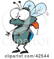 Clipart Illustration Of A Drooling House Fly Hanging Its Tongue Out