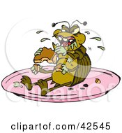 Clipart Illustration Of A Disgusting Cockroach Munching On Food On A Plate