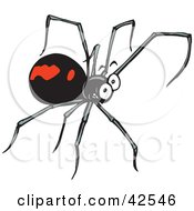 Clipart Illustration Of A Grinning Black Widow Spider With Long Legs