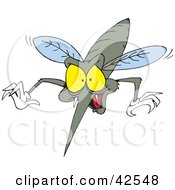 Clipart Illustration Of A Blood Thirsty Mosquito Diving Forward And Baring Fangs