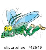 Clipart Illustration Of A Green Flying Grasshopper Wearing Shoes by Dennis Holmes Designs